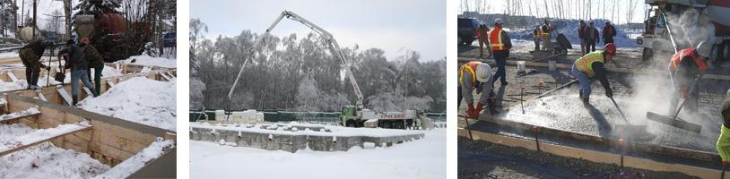 При производстве бетонных и железобетонных работ в зимнее время