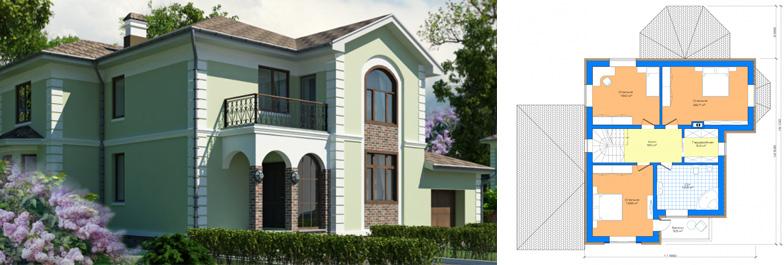 Проект двухэтажного дома из блоков
