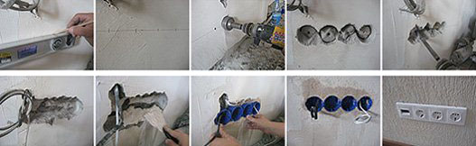Фото монтажа подрозетника в бетонную стену