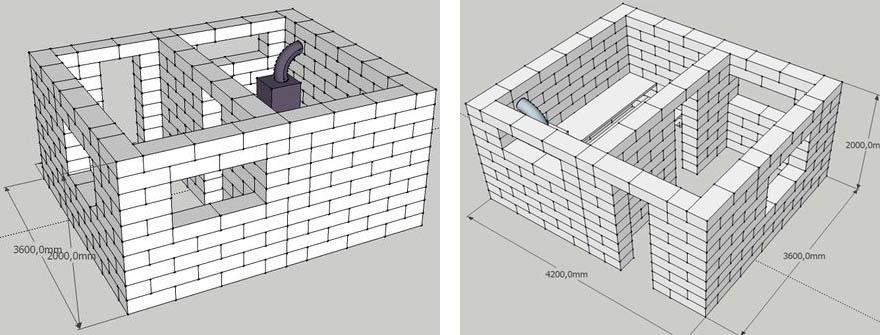 На фото – проект бани из газобетона или пеноблока для маленького участка