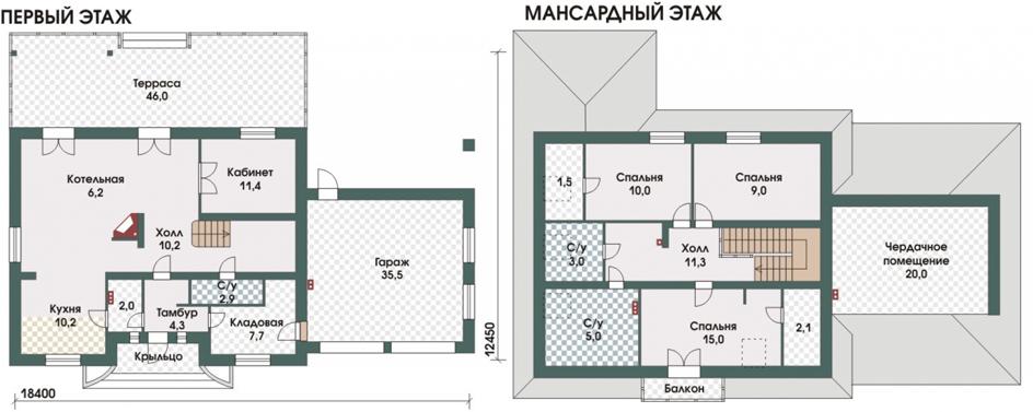 План двухэтажного дома с мансардой