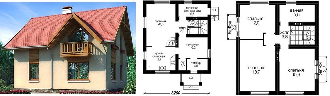 Проект дома из газобетона с мансардой