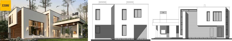 Проект дома из пеноблоков 2 этажа, гараж