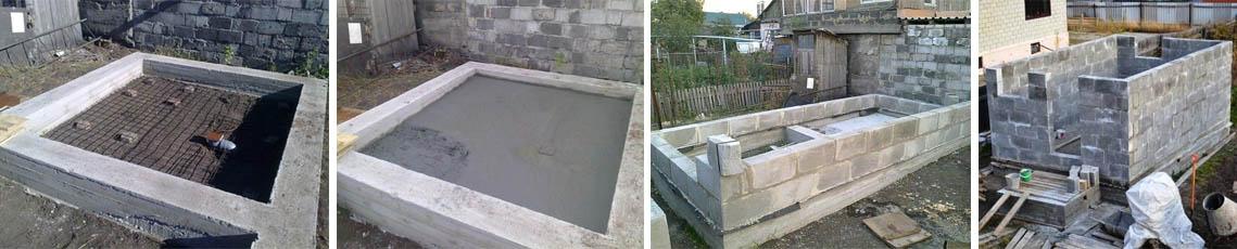 Строительство своими силами бани из блоков - фундамент и стены