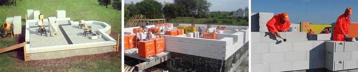 Укладка газоблоков, строительство стен дома