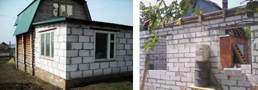 Фото пристройки из пенобетонных блоков к дому