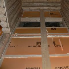 Теплоизоляция бетонных полов в бане плитами Пеноплекс