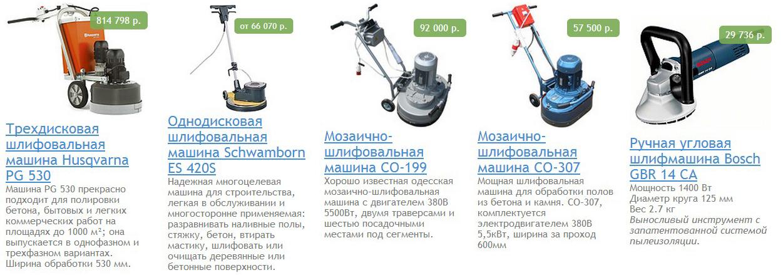 Ассортиментный ряд и цены бетоношлифовальных машинок
