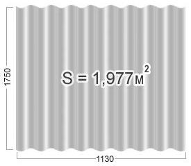 Площадь 8ми волнового листа шифера