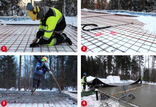 Пример использования кабельных секций для прогрева бетона