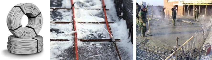 Прогреваемые кабели ПНСВ для бетонных работ зимой