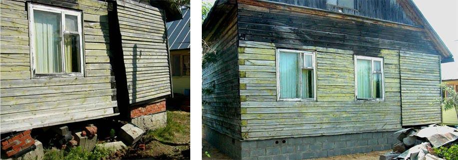 Реконструкция фундамента старого деревянного дома - до и после