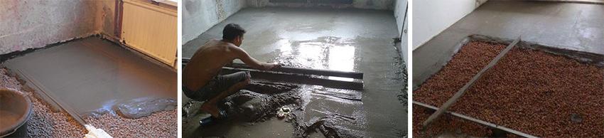 мокрая стяжка пола с керамзитом