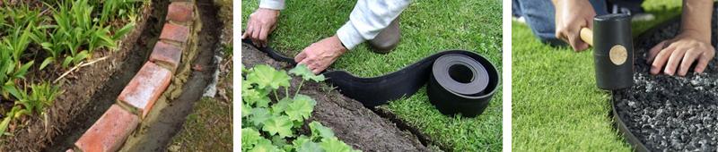 Монтаж садового бордюра