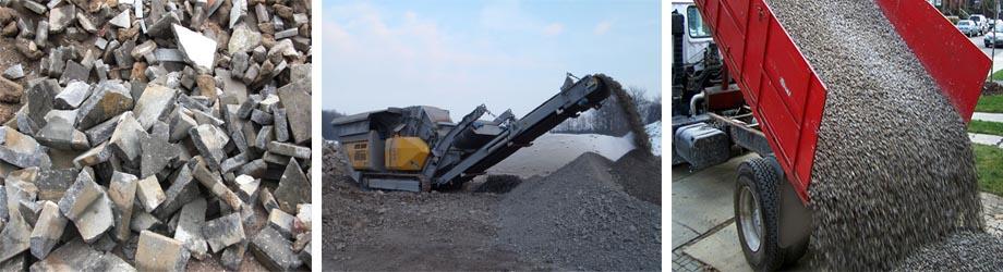 Переработка во вторичную щебенку фрагментов строительных конструкций