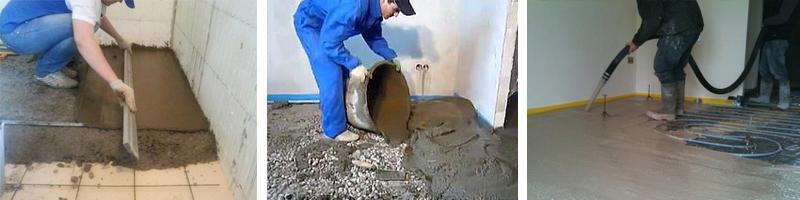 Процесс нанесения пескобетона