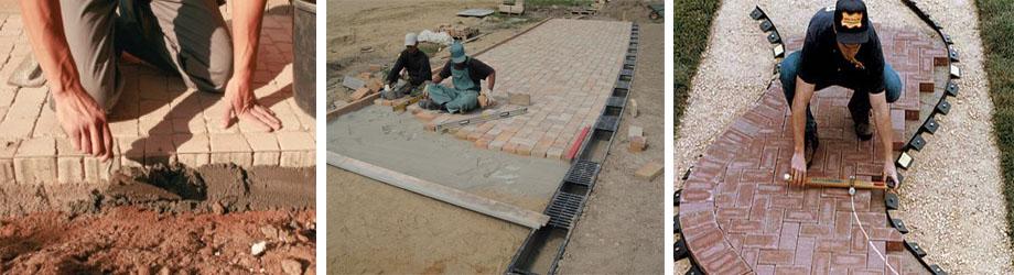 Процесс укладки брусчатого камня