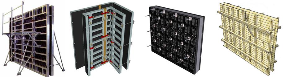 Стеновые опалубки из разных материалов. Стальная, алюминиевая, пластиковая и деревянная.