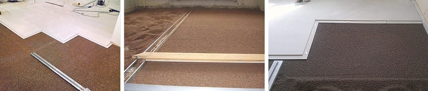 сухая стяжка пола с керамзитом