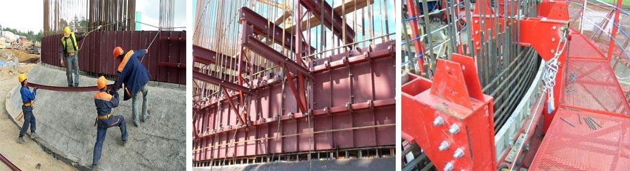 Установка опалубочной системы для вертикальных конструкций