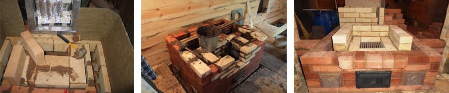 Кладка печи с применением огнеупорного кирпича