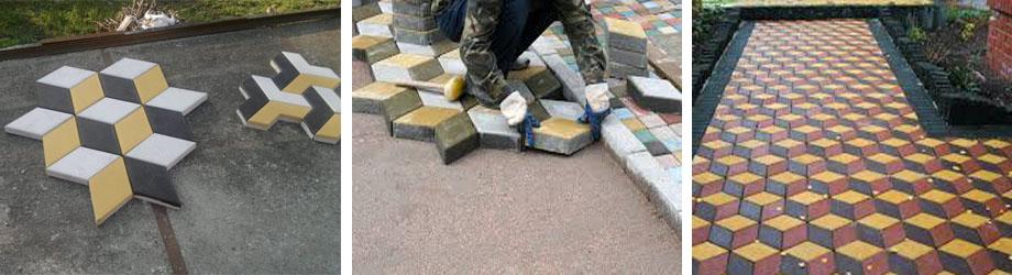Монтаж тротуарного покрытия с эффектом 3Д